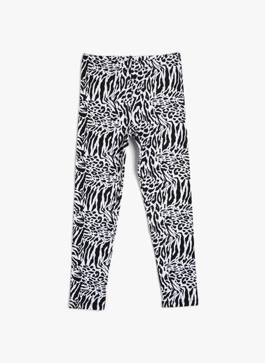 Koton Kids Zebra Desenli Tayt Beyaz